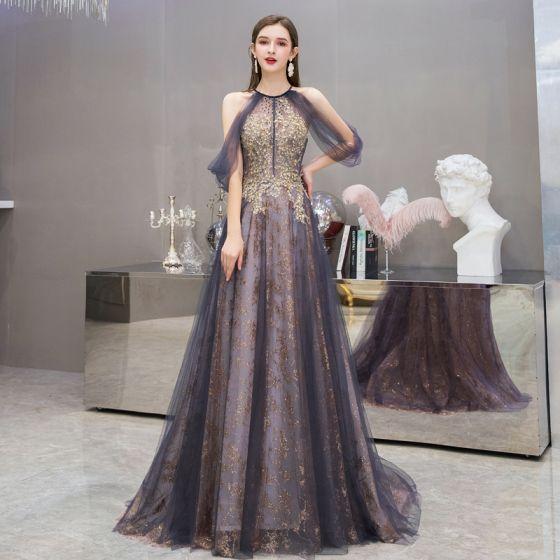 Mode Violet Robe De Soirée 2020 Princesse Encolure Dégagée Sans Manches Appliques Paillettes Perlage Train De Balayage Volants Dos Nu Robe De Ceremonie