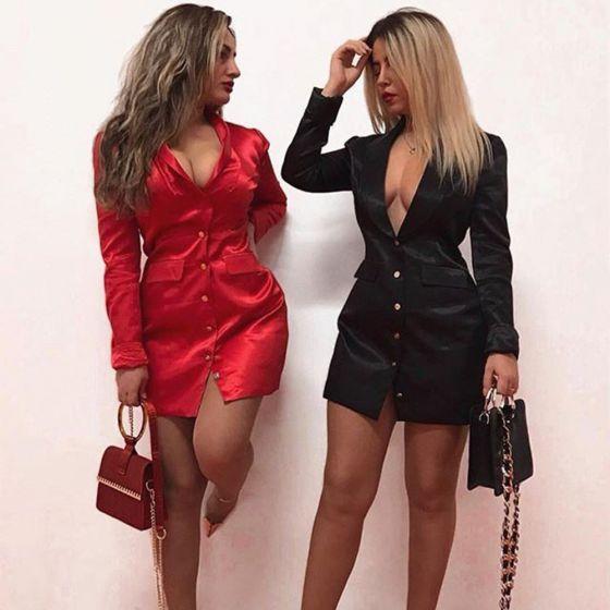 Sexy Été Courte Satin Robes longues 2020 Col v profond Manches Longues Vêtements Femme