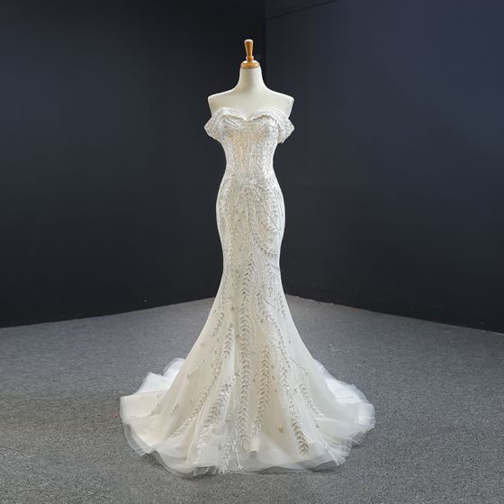Luxury / Gorgeous White Evening Dresses  2020 Trumpet / Mermaid Off-The-Shoulder Short Sleeve Appliques Sequins Beading Detachable Chapel Train Ruffle Backless Formal Dresses