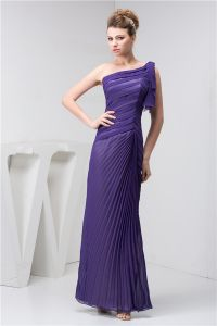 Unique A-line One Shoulder Pleated Long Formal Dress Purple Evening Dress