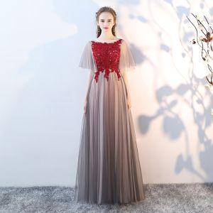 Elegant Grey Prom Dresses 2018 A-Line / Princess Lace Appliques Crystal Scoop Neck Backless Short Sleeve Floor-Length / Long Formal Dresses