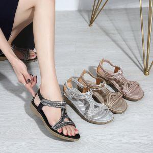Mooie / Prachtige Zwarte Toevallig Sandalen Dames 2020 Polyester Rhinestone Peep Toe Plateau Sandalen