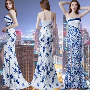 Chinese style Affordable Royal Blue Evening Dresses  2019 Trumpet / Mermaid Sweetheart Sleeveless Printing Flower Split Front Sweep Train Backless Formal Dresses