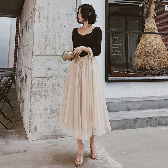 Chic / Beautiful Champagne Black Evening Dresses  2020 A-Line / Princess Square Neckline 3/4 Sleeve Sequins Tulle Tea-length Ruffle Formal Dresses