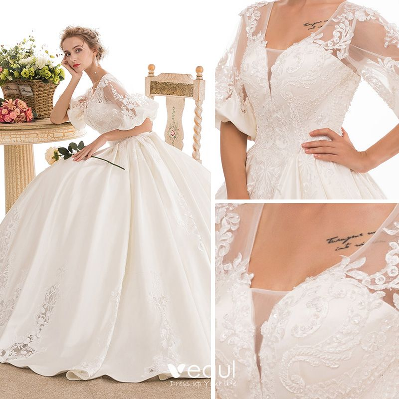 White Backless Lace Mermaid Wedding Dresses 2018 V Neck: Stunning White Pierced Wedding Dresses 2018 Ball Gown V