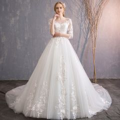 Elegant Ivory Wedding Dresses 2019 A-Line / Princess Scoop Neck Appliques Lace Flower Pearl 3/4 Sleeve Backless Cathedral Train