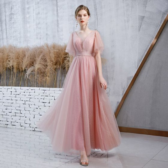 Chic / Beautiful Pearl Pink Evening Dresses  2020 A-Line / Princess See-through Deep V-Neck Bell sleeves Spotted Tulle Floor-Length / Long Ruffle Backless Formal Dresses