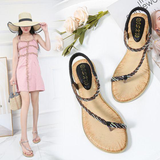 Hermoso Negro Playa Zapatilla & Chanclas 2020 Rhinestone Peep Toe Zapatos De Mujer