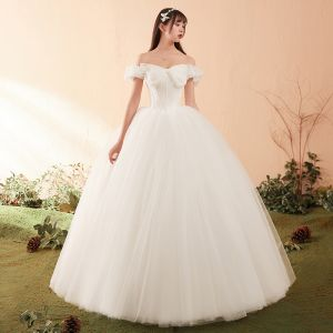 Elegant Ivory Wedding Dresses 2018 Ball Gown Bow Off-The-Shoulder Backless Short Sleeve Floor-Length / Long Wedding