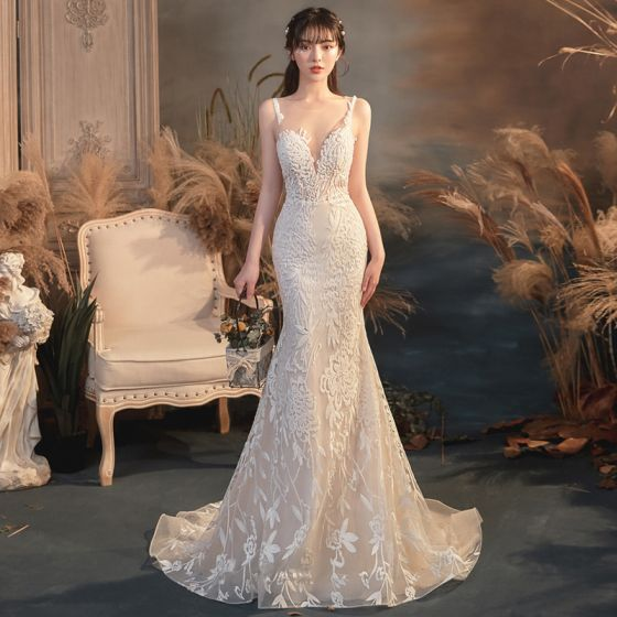 Illusion Champagne See-through Bridal Wedding Dresses 2020 Trumpet / Mermaid Scoop Neck Sleeveless Backless Appliques Lace Beading Sweep Train Ruffle