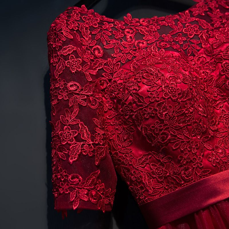Chic / Beautiful Red Formal Dresses 2017 A-Line / Princess Lace Flower Strappy Scoop Neck 1/2 Sleeves Ankle Length Evening Dresses