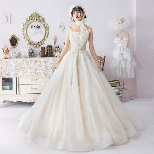 Modern / Fashion Champagne Wedding Dresses 2019 A-Line / Princess Pleated Amazing / Unique Strapless Beading Lace Flower Sleeveless Backless Floor-Length / Long