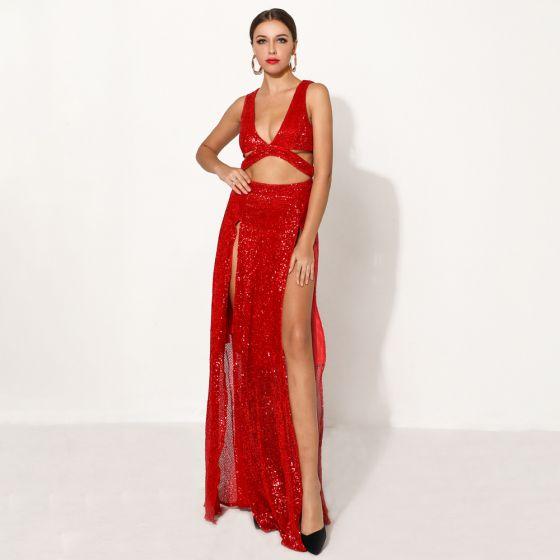 Sexy Red Sequins Evening Dresses  2020 Deep V-Neck Sleeveless Split Front Floor-Length / Long Formal Dresses