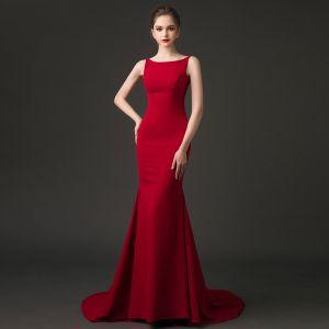 Sexy Burgundy Evening Dresses  2018 Trumpet / Mermaid Square Neckline Sleeveless Court Train Ruffle Backless Formal Dresses
