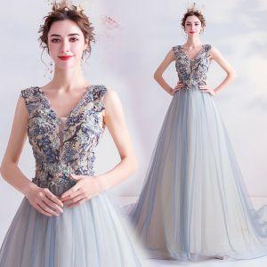 Elegant Sky Blue Prom Dresses 2020 A-Line / Princess V-Neck Beading Rhinestone Lace Flower Sleeveless Backless Sweep Train Formal Dresses