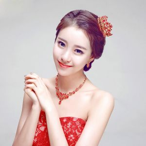 Fashion Red Bridal Jewellery Wedding Tiara / Earrings / Necklace Three-piece