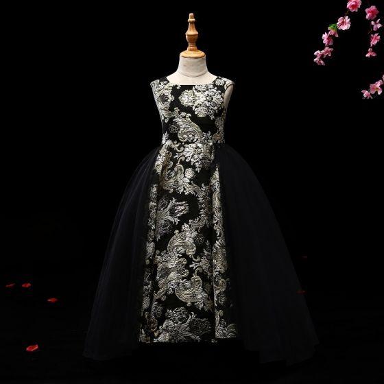 Mooie / Prachtige Zwarte Goud Bloemenmeisjes Jurken 2017 Baljurk Glans Bloem Ronde Hals Mouwloos Lange Jurken Voor Bruiloft