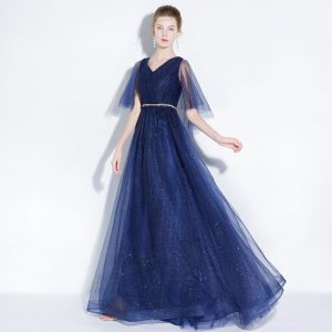 Chic / Beautiful Navy Blue Evening Dresses  2018 A-Line / Princess Glitter Rhinestone Sash V-Neck Backless Short Sleeve Floor-Length / Long Formal Dresses