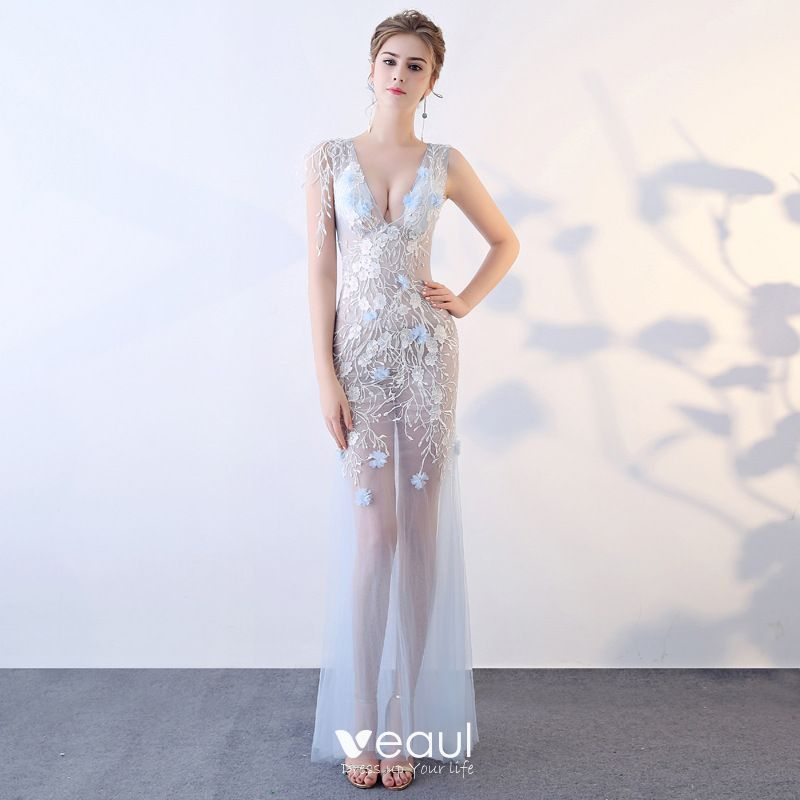 a920d03cdb37 Sexy Sky Blue See-through Summer Evening Dresses 2018 Trumpet / Mermaid  V-Neck Sleeveless Appliques Lace ...