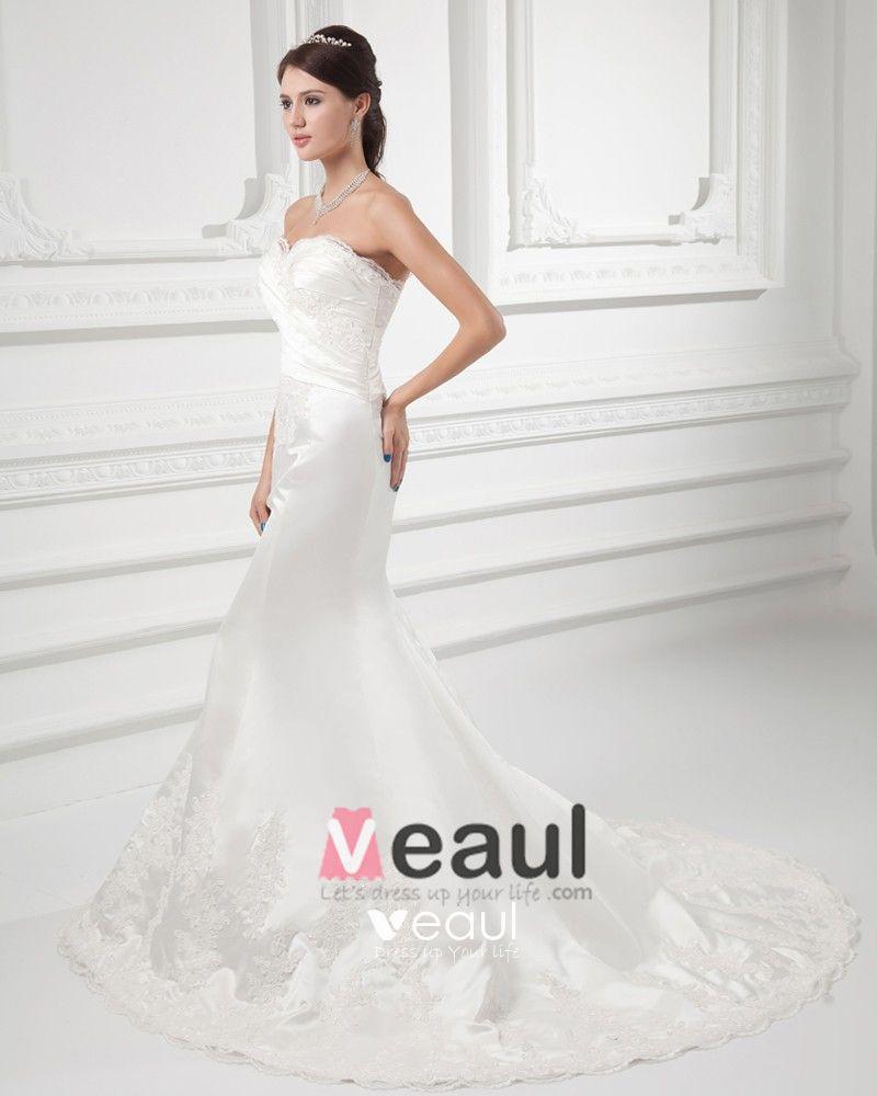 Satin Applique Beading Sweetheart Court Train Mermaid Wedding Dress