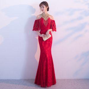 Chic / Beautiful Red Evening Dresses  2018 Trumpet / Mermaid Tassel Strapless Sleeveless Floor-Length / Long Formal Dresses