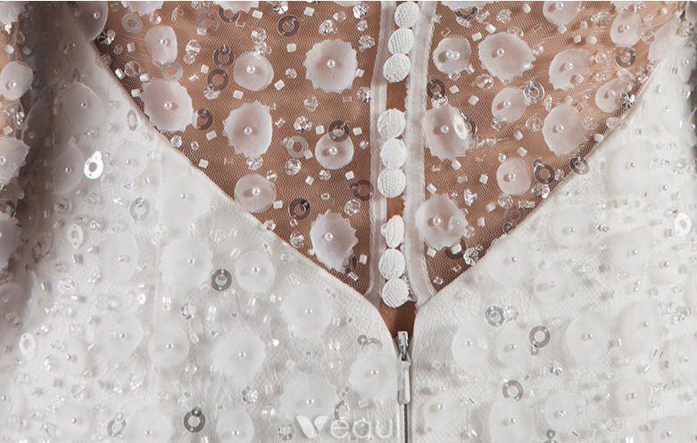 Sexy Brautkleider 2016 Seejungfrau Applikation Blumen Pailletten Weißen Tüll Rückenfrei Brautkleid Mit Abdeckknopf