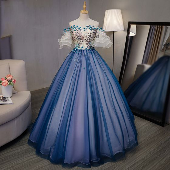 Chic / Beautiful Royal Blue Dancing Prom Dresses 2020 Ball Gown Off-The-Shoulder Bell sleeves Appliques Lace Embroidered Flower Rhinestone Floor-Length / Long Ruffle Formal Dresses