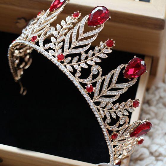 Mooie / Prachtige Rode Bruidssieraden 2017 Metaal Kralen Kristal Rhinestone Haaraccessoires Huwelijk Gala Accessoires