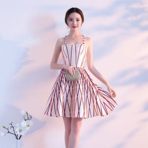 Sexy Ivory Party Dresses 2018 A-Line / Princess Striped Spaghetti Straps Sleeveless Short Formal Dresses