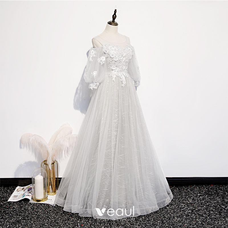 Viktorianischer Stil Silber Weiss Durchsichtige Ballkleider 2020 Prinzessin Rundhalsausschnitt Geschwollenes 3 4 Armel Applikationen Spitze Perlenstickerei