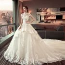 Luxury / Gorgeous Ivory Wedding Dresses 2019 A-Line / Princess Scoop Neck Lace Flower Beading Tassel Sequins Sleeveless Backless Royal Train