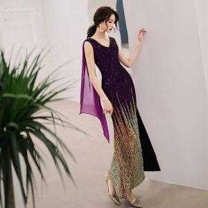 Uroczy Fioletowe Gradient-Kolorów Sukienki Wizytowe 2019 Syrena / Rozkloszowane V-Szyja Cekiny Bez Rękawów Bez Pleców Długość Kostki Sukienki Wieczorowe