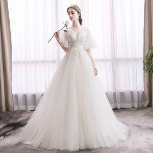 Elegant Ivory Wedding Dresses 2019 A-Line / Princess V-Neck Lace Flower Short Sleeve Backless Court Train