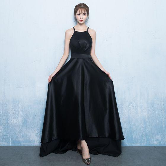 Modern / Fashion Black Evening Dresses  2017 A-Line / Princess Spaghetti Straps Sleeveless Sweep Train Ruffle Backless Formal Dresses