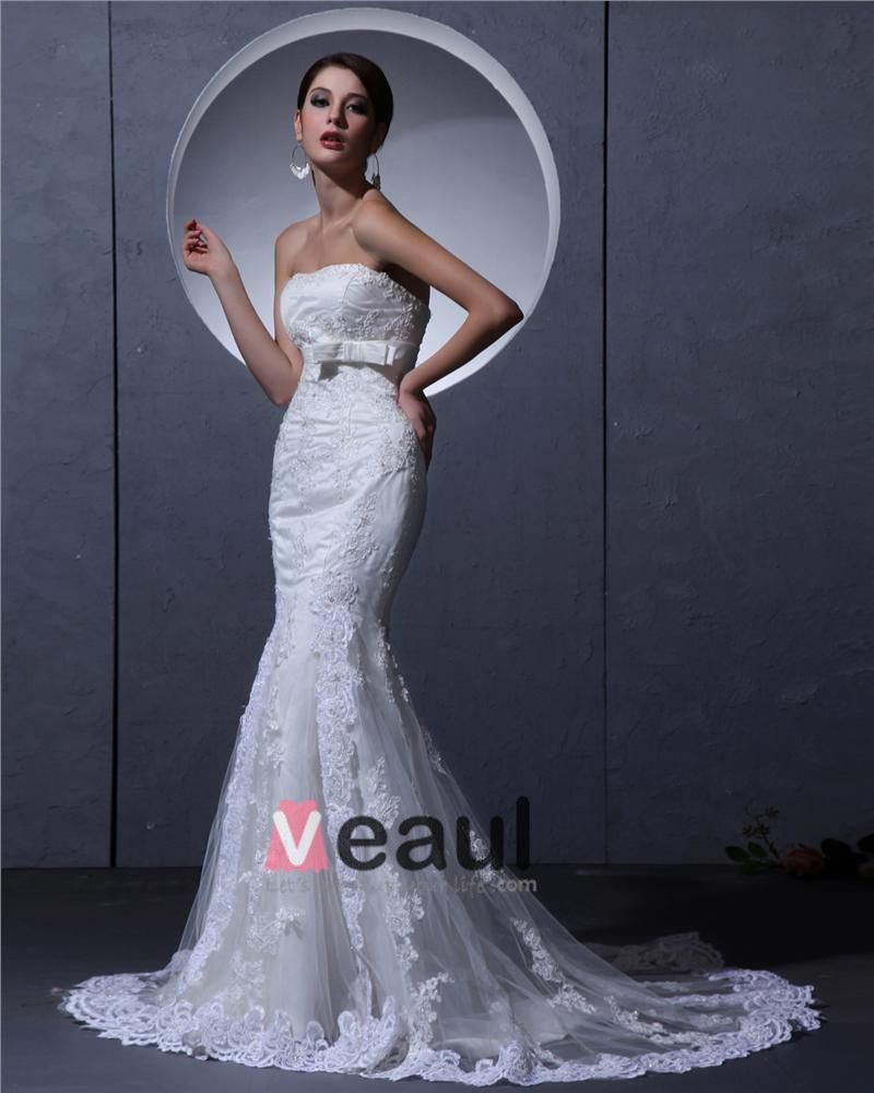 Tulle Applique Beaded Strapless Court Sheath Bridal Gown Wedding Dress