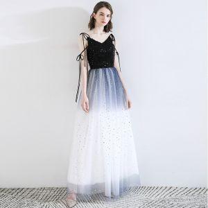 Moda Ciemnoniebieski Sukienki Wieczorowe 2020 Princessa Spaghetti Pasy Kutas Gwiazda Cekiny Bez Rękawów Bez Pleców Długie Sukienki Wizytowe