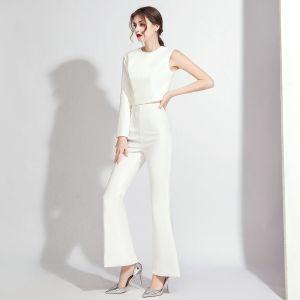Schlicht Weiß Overall 2020 One-Shoulder Lange Ärmel Lange Rückenfreies Abendkleider