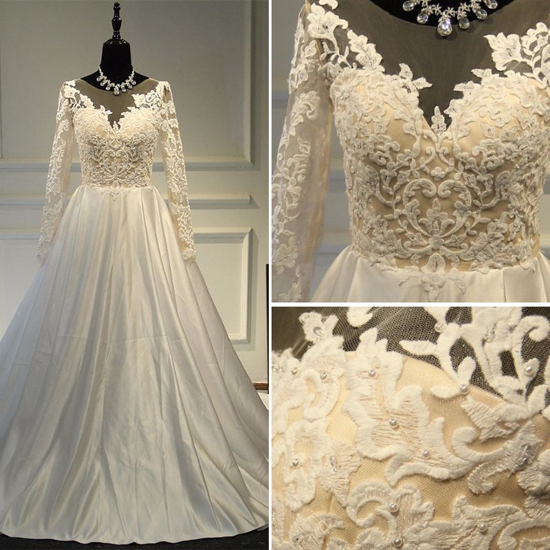 Elegant Wedding Dresses 2017 A-Line / Princess Scoop Neck Long Sleeve Appliques Lace Ivory Satin Chapel Train