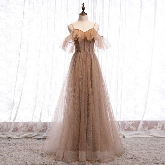 Chic / Belle Marron Robe De Soirée 2020 Princesse Bretelles Spaghetti Manches Courtes Perlage Glitter Tulle Longue Volants Dos Nu Robe De Ceremonie