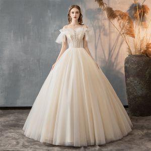 Elegant Champagne Wedding Dresses 2019 A-Line / Princess Spaghetti Straps Beading Sequins Ruffle Short Sleeve Backless Floor-Length / Long