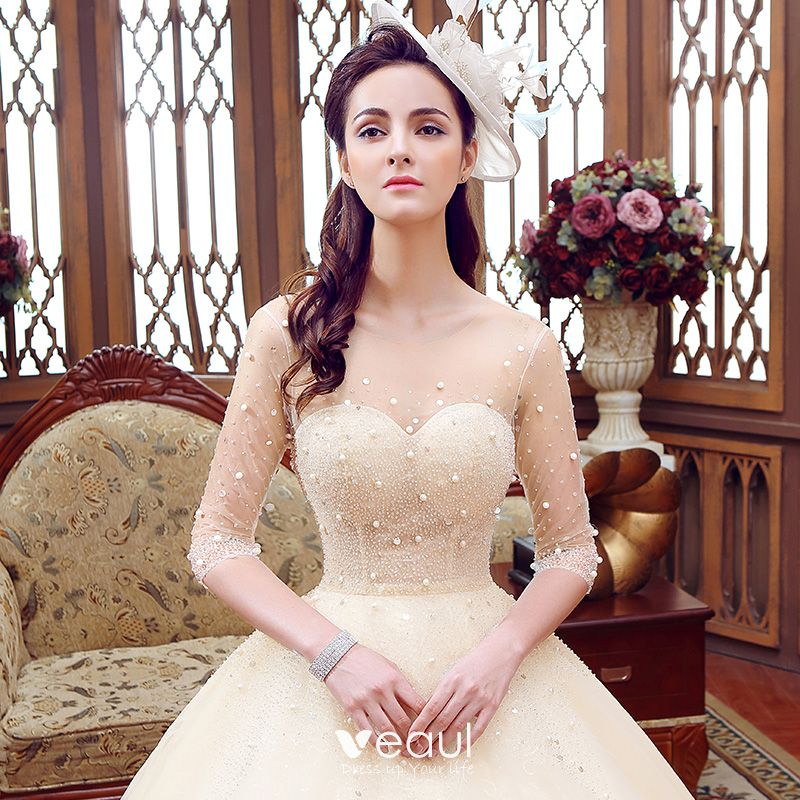 Luxury / Gorgeous Champagne See-through Wedding Dresses 2019 A-Line / Princess Scoop Neck 1/2 Sleeves Backless Beading Glitter Tulle Floor-Length / Long Ruffle
