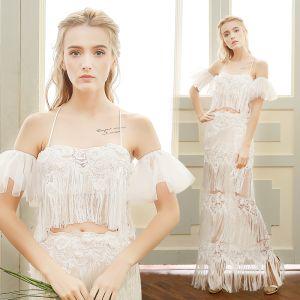 Chic / Belle Plage Robe De Mariée 2017 Blanche Gaine / Ajustement Longue Bretelles Spaghetti Sans Manches Dos Nu Gland En Dentelle Appliques Perle
