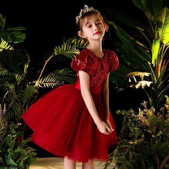 Victoriaanse stijl Rode Bloemenmeisjes Jurken 2020 Baljurk Ronde Hals Gezwollen Korte Mouwen Pailletten Gordel Korte Ruche