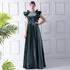 Amazing / Unique Ink Blue Suede Evening Dresses  2019 A-Line / Princess Scoop Neck Sleeveless Floor-Length / Long Ruffle Backless Formal Dresses