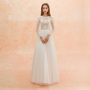 Illusion Ivory Beach Pierced Wedding Dresses 2019 Sheath / Fit Scoop Neck Long Sleeve Appliques Lace Floor-Length / Long Ruffle