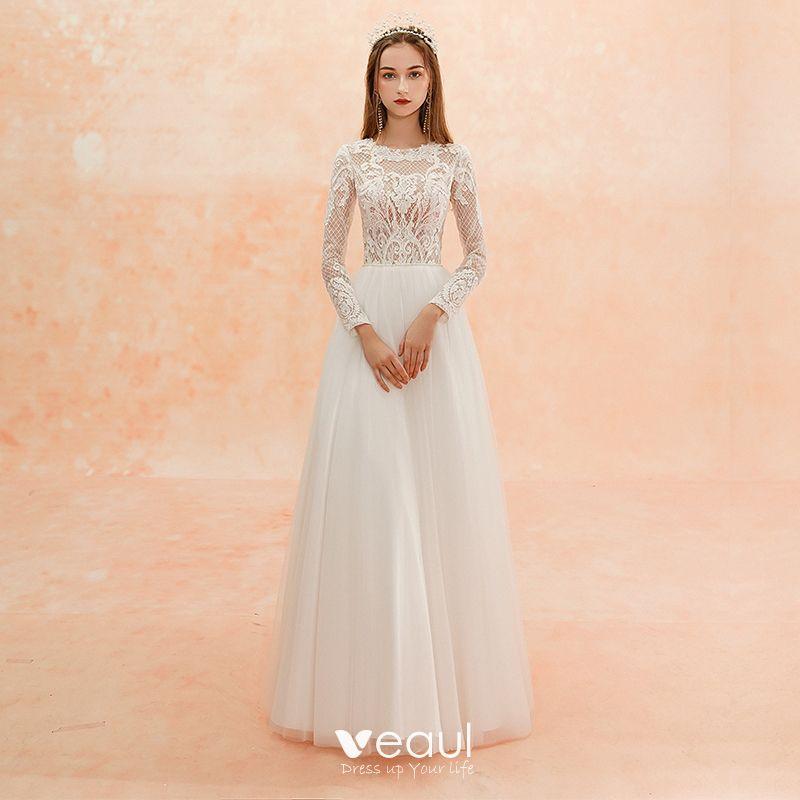 Sheath Wedding Dresses 2019: Illusion Ivory Beach Pierced Wedding Dresses 2019 Sheath