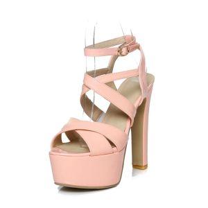 Mode Sandaler Plattform Lack Hög Klack Kvinnor Skor