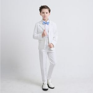 Sky Blue Tie Ivory Boys Wedding Suits 2019 Long Sleeve Coat Shirt