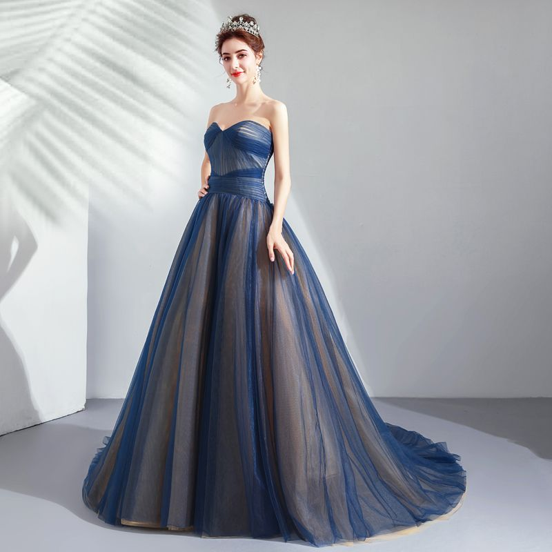 Elegant Navy Blue Prom Dresses 2019 A-Line / Princess Sweetheart Sleeveless Backless Court Train Formal Dresses