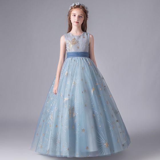 Hermoso Azul Cielo Cumpleaños Vestidos para niñas 2020 A-Line / Princess Scoop Escote Sin Mangas Apliques Lentejuelas Bowknot Cinturón Largos Ruffle